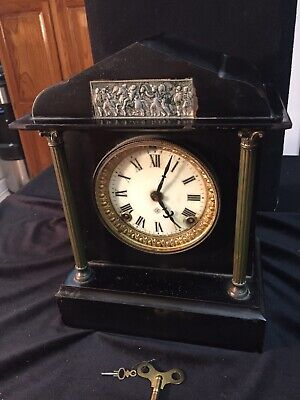 Antique Clock By Ansonia Mantle Clock From 1800's Cast Iron Works With Key