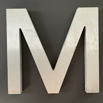 "Letter M Vintage Industrial Salvage Sign Cast Aluminum Metal 12"" Outdoor"