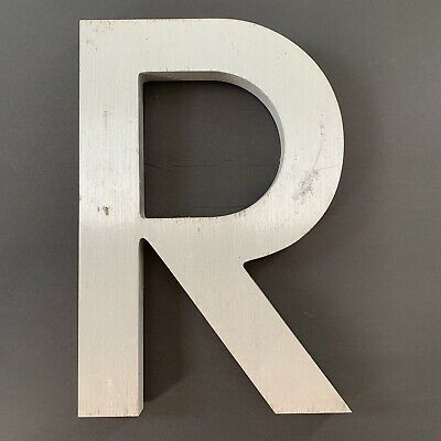 "Letter R Vintage Industrial Salvage Sign Cast Aluminum Metal 12"" Outdoor"