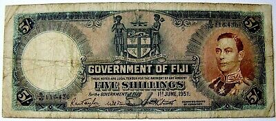 Government of Fiji Banknote 1st June, 1951 Five Shillings  (5/-) King George VI