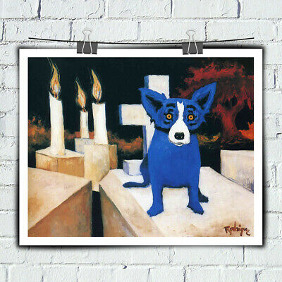 HD Print Cartoon Animal Blue Dog Art Painting on Canvas 16x20