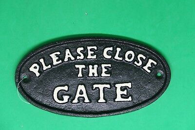 Cast Iron Sign Please Shut the Gate Plaque Outdoor Home Decor Rustic Black