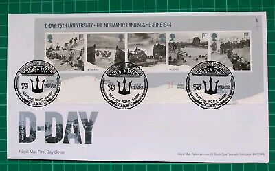 2019 75th Anniversary D-Day Miniature Sheet on FDC Neptune Road Barry pmk