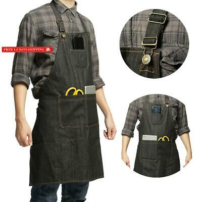 Lightweight Denim Jean Tool Apron With Pockets Waterproof Waxed Canvas Apron For
