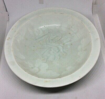 Chinese Antique Song Dynasty Style Ying Celadon White Porcelain Plate