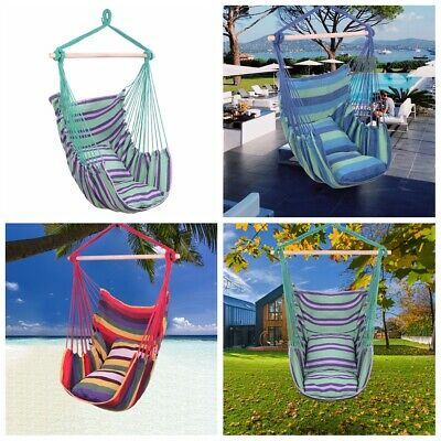 Hanging Rope Chair Porch Swing Yard Garden Patio Beach Hammock Cotton Outdoor