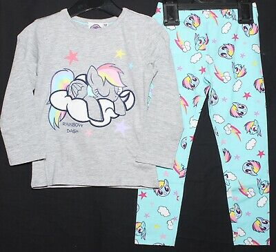 Girls MY LITTLE PONY Pyjamas Light Grey/Blue PJs RAINBOW DASH Pyjamas 2-12 years