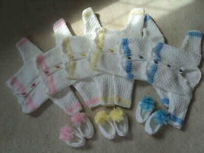 pretty little Hand knitted baby cardigans with shoes Newborn Reborn dolls twins
