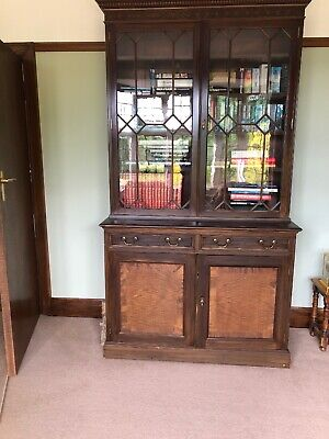 Antique Late Victorian Glazed  Mahogany Bookcase with rosewood panels
