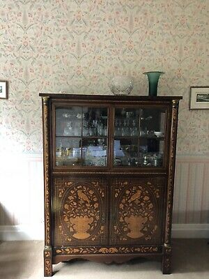 Dutch marquetry display cabinet with serving windows and cupboard