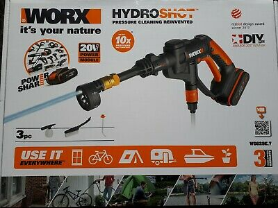 Worx Hydroshot High/Low Pressure Lightweight Car Bike Washer Rechargeable 150L/h