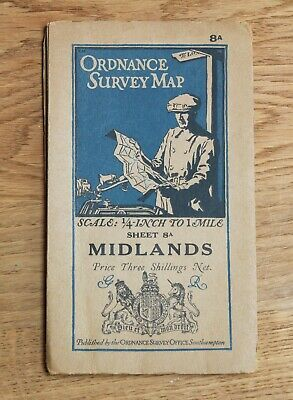 1928 OS ORDNANCE SURVEY Map MIDLANDS 1/4 inch to 1 mile CLOTH Warwick Northants
