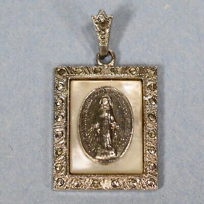 Vintage Sterling Silver MOP Religious Miraculous Medal  -- 1194