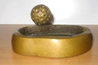 Bronze Artwork Ashtray Golfball Signed - Bronzen Sculptuur Asbak Golfbal