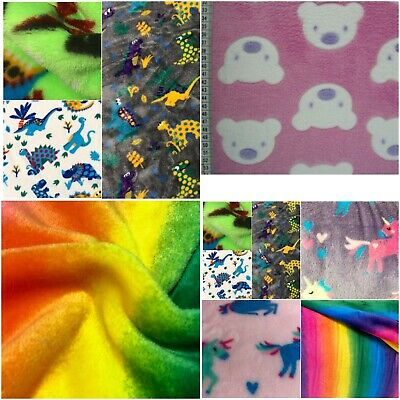 Dinosaur Cuddle Fleece Material Double Sided Super Soft Fabric Baby Blankets