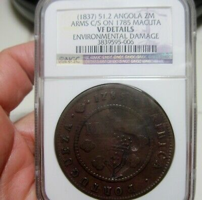 1785 (ANGOLA-PORTUGAL (COLONY) 2 MACUTA w/COUNTERMARK ARMS CROWN -- NGC---