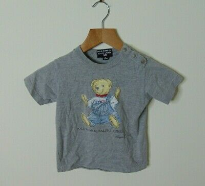 Vintage Polo Jeans Ralph Lauren Baby 18-24m Polo Bear Graphic T-Shirt Gray