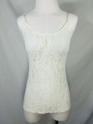 Wet Seal | White Ivory | Lace | Sheer | Spaghetti Strap Cute Boho Cami Top sz M