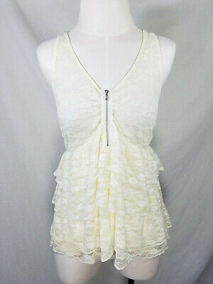Wet Seal | White Ivory Lace Sheer Ruffle Tiered Racerback Tank Top Blouse sz XL