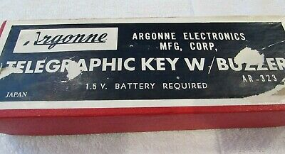 Vtg Argonne Telegraphic Key W/ Buzzer AR-323 No Battery Original Box Morse Code