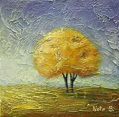 """Textured Landscape Painting Modern Autumn Tree Painting 12"""" x 12""""  by Nata S"""