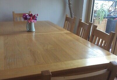 Solid Oak Dining Table Extendable And 8 Chairs 370 00