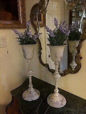 A set of 2 White Metal vintage farmhouse Urns/ Planters or Candle holders
