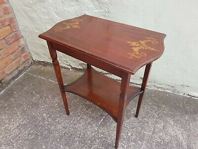 Antique Inlaid Mahogany Side Table Used