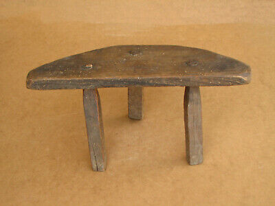 Old Antique Primitive Wooden Wood Three Legged Milking Stool Chair Tripod 19th