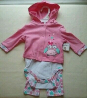 a3bdfca4e0c6 Baby Girl 3M Pink Outfit Cuddle Bear Collection Hoodie bodysuit pants OWLS  heart