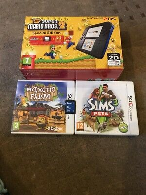 Nintendo 2DS Blue & Black Handheld System special edition with super Mario bros