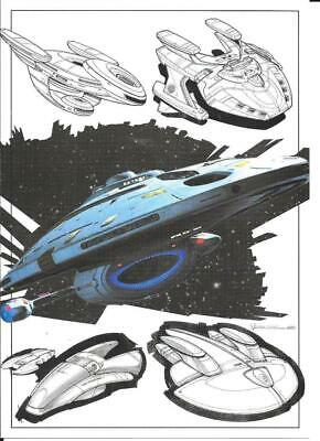 STAR TREK  8 X 6 INCH ART CARD No 6.2 - U.S.S VOYAGER EARLY SKETCHES