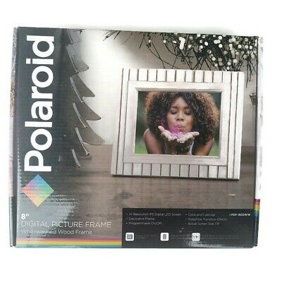 "Polaroid 8"" Digital Picture Frame PDF-800WW Whitewashed Wood Frame NEW"