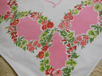 Vintage SIMTEX VARIETY Tablecloth Bright Colors Pink Lime Green