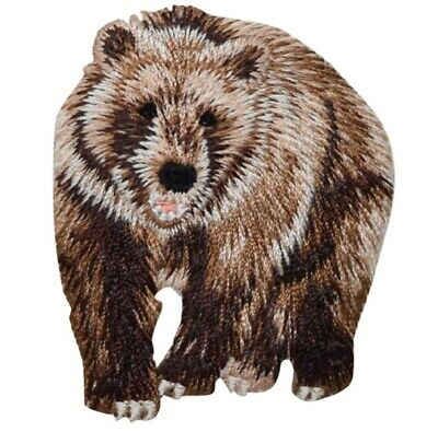"""Bear Applique Patch - Brown Grizzly Bear, Animal Badge 2.25"""" (Iron on)"""
