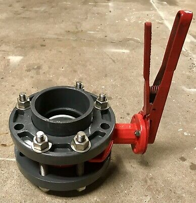 "BRAY 02-0200-70010-529 Butterfly Valve, Handle & 4""Flanges, Used, Industrial"