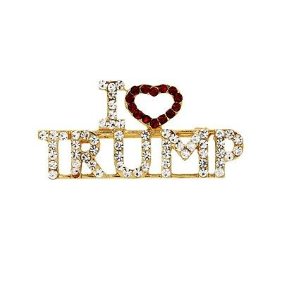 "Sparkling ""I Love Trump"" Pin, Brilliant Rhinestones, Republican Party President"