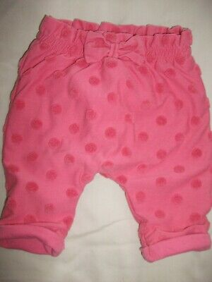 Baby Girls Pink Lined  Turn-Up Spotted Joggers / Trousers - Age Up To 1 Month