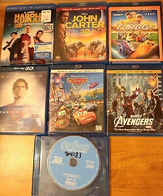 Lot of seven used 3D Bluray movies, great condition, Free ship!
