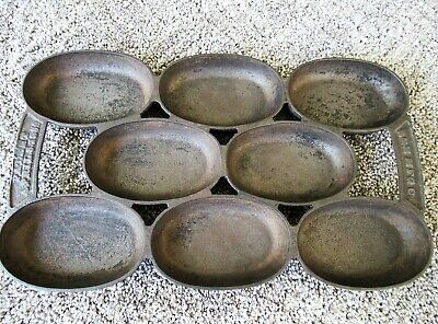 Antique Gem Muffin Pan Cast Iron Signed R & E #5  Pat 4-05-1859, 8 Oval Cups, CT