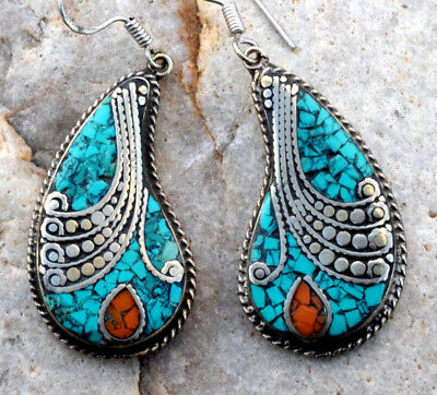 Turquoise Coral Stone Tibetan Silver Earrings Nepali Jewelry Carved Ethnic Boho