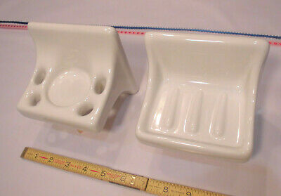 Glossy Bright White  Ceramic Soap Dish...Cup & Toothbrush Holder  New Old Stock
