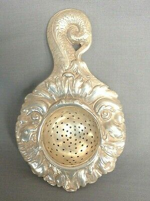 Silver Tea Strainer early C20th London & Chinese silver marks