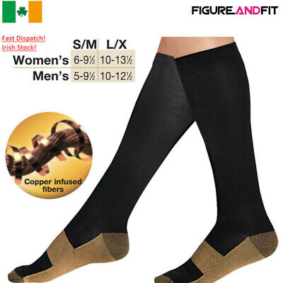 Unisex Copper Infused Anti-Fatigue Compression Socks Varicose Vein Stocking