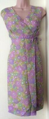 True Vintage 1960's Green Floral Rayon Mod  Dress- Size 12 Festival