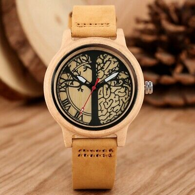 Simple Life Tree Design Women's Bamboo Watch Maple Wood Leather Quartz Watches