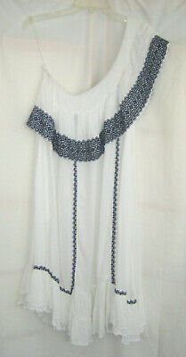 NWOT Muche Muchette One Shoulder Dress Cover Up Boho Blue White Hippie P/S