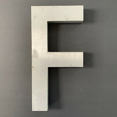 "Letter F Vintage Industrial Salvage Sign Cast Aluminum Metal 12"" Outdoor"
