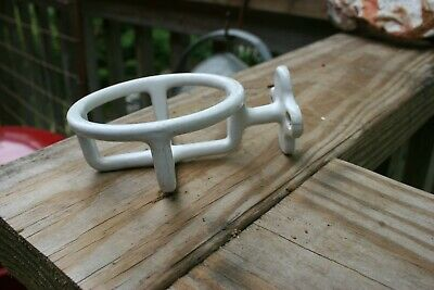 Antique Wall-Mount White Porcelain Enamel On Cast Iron Cup Holder