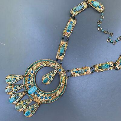 Vintage Egyptian Revival Gold Tone turquoise Fiance Scarab Statement Necklace